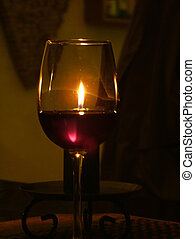Wine and candle - Romantic candlelight dinner with wine