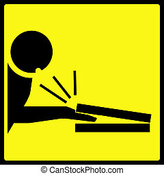 Fingers Pinch Sign - A sign showing a man with his mouth...