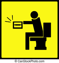 Toilet Paper Sign - A sign warning against the hazard of...