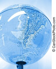 World Globe - Globe featuring South America.