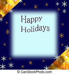 Christmas Border - Yellow Bow with snowflakes Christmas...