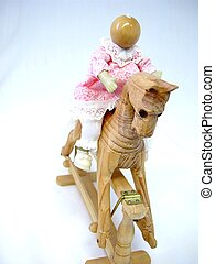 Rocking Horse - Rocking horse and doll ornament