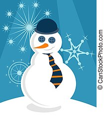 Posh Snowman - Posh snowman with bowler hat and tie.