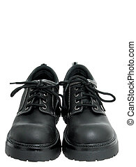 Women's Shoes - Black walking shoes on white.