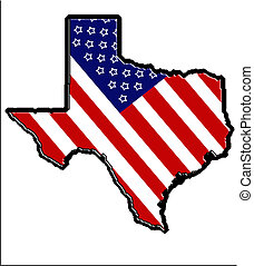 Patriotic Texas 3 - The state of Texas wrapped in old glory
