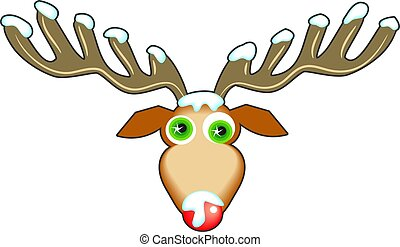 Reindeer face with snow on antlers and nose.