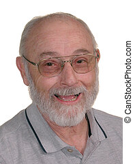 Grandpa 03 - Smiling man with grey beard and glasses on...