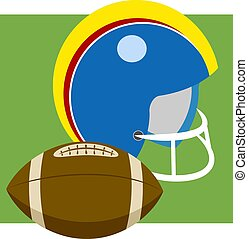 American Football - American football helmet and ball.