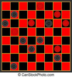 Checkers - A game of checkers or draughts.
