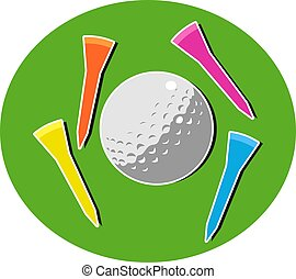 Golf ball and coloured tees.