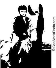 Horse Riding - Black and white horse riding illustration.