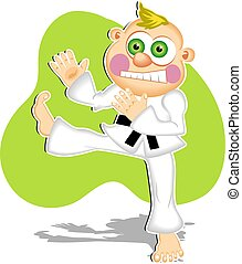 Karate Kid - Cartoon kid doing a karate kick.