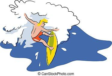 Surfing - Surfer riding the waves. Loose drawing style...