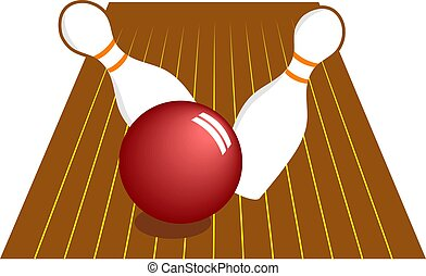 Ten Pin Bowling - Ten pin bowling skittles being knocked...