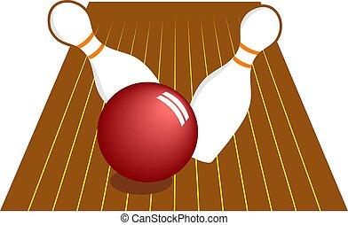 Ten Pin Bowling - Ten pin bowling skittles being knocked...