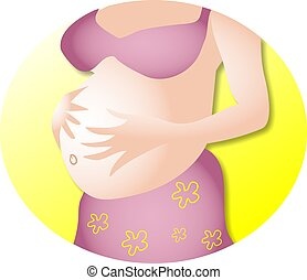 Pregnant woman holding her belly illustration.