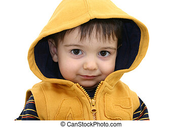 Boy wClipping Path - Beautiful toddler boy in yellow hood...