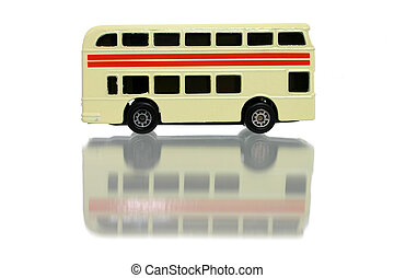Bus w/Clipping Path - Toy yellow double decker bus on white...