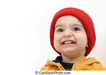 Winter Boy - Toddler boy in winter attire islolated on...