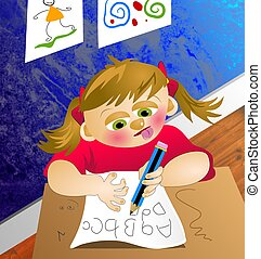 ABC Girl - Young girl sitting at her school desk doing her...