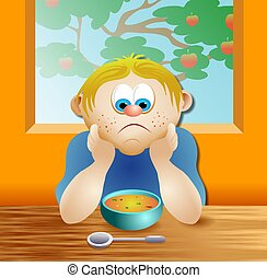 Soup Boy - Illustration of a young boy not happy at the...