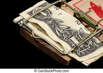 Investment Traps - Photo of a Mousetrap and a Dollar as Bait...