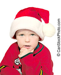 x-mas boy thinking - isolated x-mas boy thinking