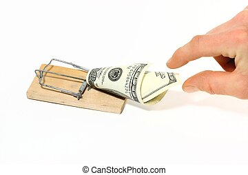 Trap - Hand reaching for $100 bill on a mousetrap