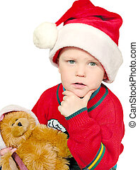 hmmm x-mas gifts? - thinking boy ith bear