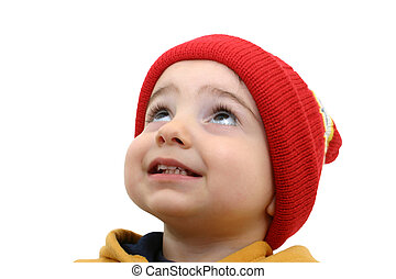 Boy w/Clipping Path - Beautful toddler boy in red hat and...