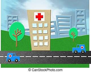 Emergency Hospital - Hospital emergency unit with ambulances...