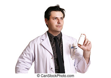 Doctor or pharmacist with a product - Doctor or pharmacist...
