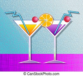 Cocktails - Illustration of two fruit cocktail drinks.