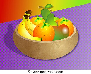 Fruit Bowl - Illustration of a bowl of fruit on the kitchen...
