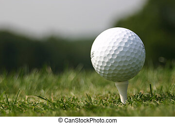 Golf Ball on Tee at real Golf course