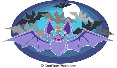 Bats - Bat with glasses on and silhouette of bats in...
