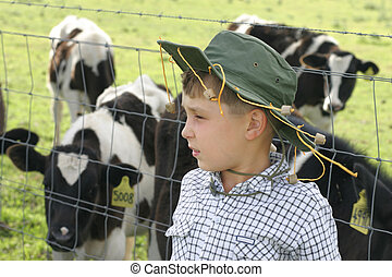 Down on the farm - young farmer boy and his cows.