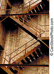 Grunge stair - Grungy fire stair of old building