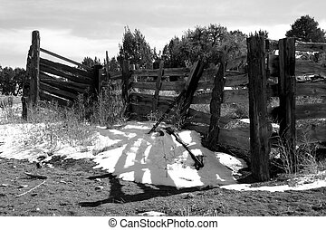 B&W Corral - Corral on ranch in southern Colorado rendered...
