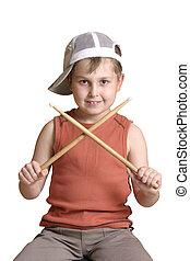 Drummer boy - Little drummer boy, with crossed drumsticks...