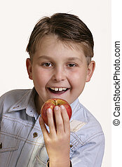 Grab an apple - Happy boy with apple
