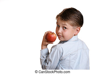 An apple a day - Child with apple - you could replace apple...
