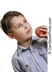 boy apple - Holding an apple (angled perspectve)