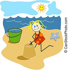Girl at the Beach - Child like drawing of a young girl...