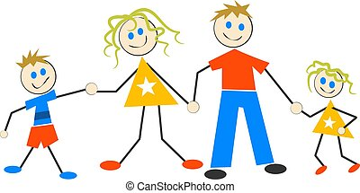 Happy Family - Child like design of happy family holding...
