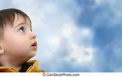 Boy w/Clipping Path on White Looking Up - <img...