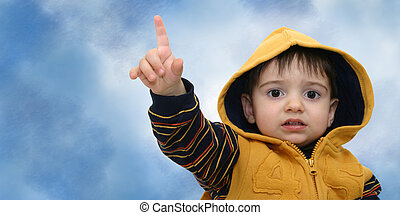 Boy w/Clipping Path - Toddler boy pointing with an upset...