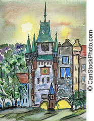 FREIBURG IN GERMANY - watercolor