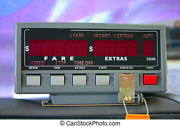 Taxicab Meter - Close up shot of a Taxicab Meter.