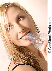 Thirst Quencher - Smiling girl with water bottle